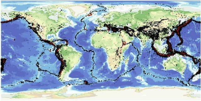 Bolygónk potenciálisan földrengésveszélyes területei